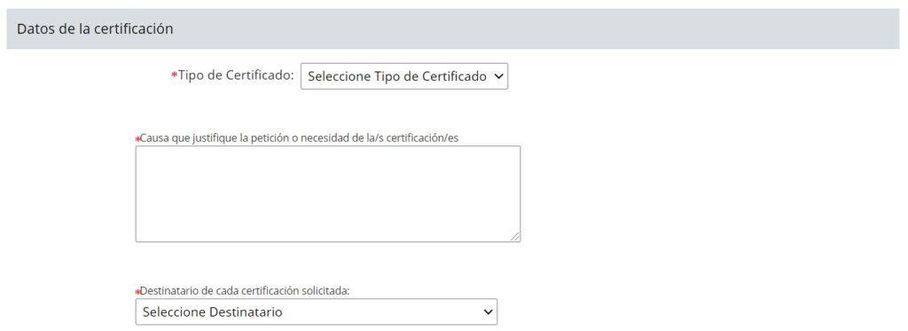 Datos de la certificación