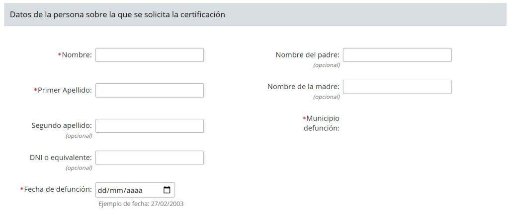 Datos de la persona sobre la que se solicita la certificacion