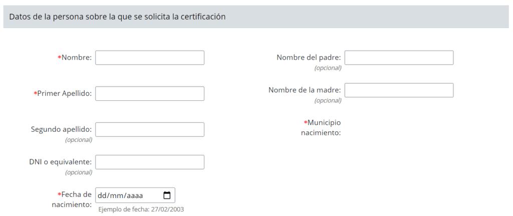 datos de la persona sobre la que se solicita la certificación