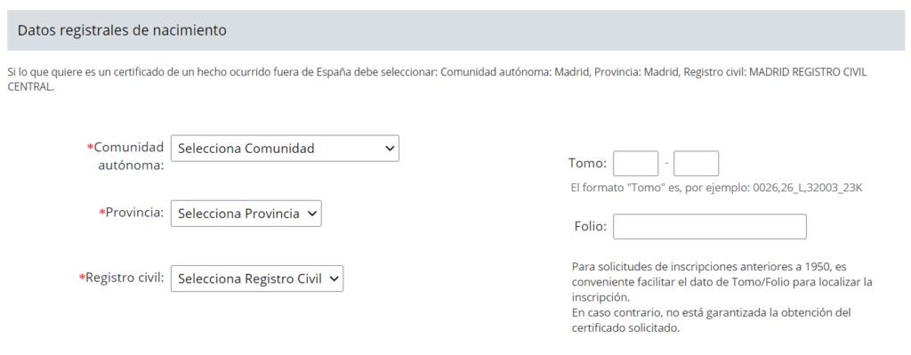 datos registrales de nacimiento